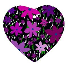 Purple Fowers Heart Ornament (2 Sides) by Valentinaart