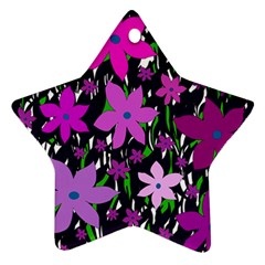 Purple Fowers Star Ornament (two Sides)