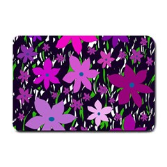 Purple Fowers Small Doormat  by Valentinaart
