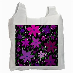 Purple Fowers Recycle Bag (two Side)  by Valentinaart