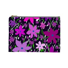 Purple Fowers Cosmetic Bag (large)  by Valentinaart