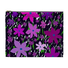 Purple Fowers Cosmetic Bag (xl) by Valentinaart