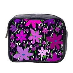 Purple Fowers Mini Toiletries Bag 2 Side by Valentinaart