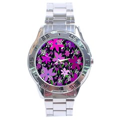 Purple Fowers Stainless Steel Analogue Watch by Valentinaart