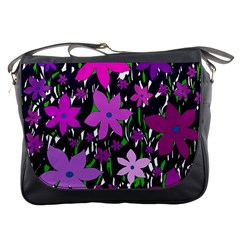 Purple Fowers Messenger Bags by Valentinaart