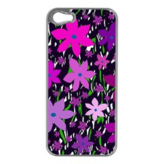 Purple Fowers Apple Iphone 5 Case (silver) by Valentinaart