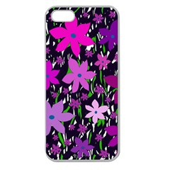 Purple Fowers Apple Seamless Iphone 5 Case (clear) by Valentinaart