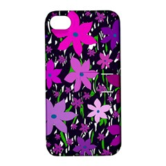 Purple Fowers Apple Iphone 4/4s Hardshell Case With Stand by Valentinaart