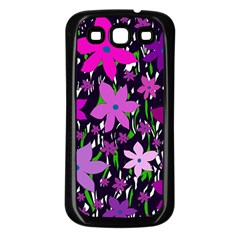 Purple Fowers Samsung Galaxy S3 Back Case (black) by Valentinaart