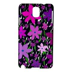 Purple Fowers Samsung Galaxy Note 3 N9005 Hardshell Case by Valentinaart