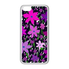 Purple Fowers Apple Iphone 5c Seamless Case (white) by Valentinaart