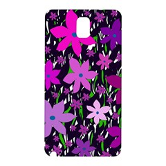 Purple Fowers Samsung Galaxy Note 3 N9005 Hardshell Back Case by Valentinaart