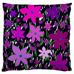 Purple Fowers Large Flano Cushion Case (two Sides) by Valentinaart