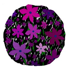 Purple Fowers Large 18  Premium Flano Round Cushions by Valentinaart