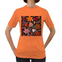 Orange Flowers  Women s Dark T-shirt by Valentinaart