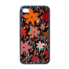 Orange Flowers  Apple Iphone 4 Case (black) by Valentinaart