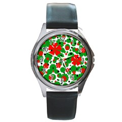 Red And Green Christmas Design  Round Metal Watch by Valentinaart