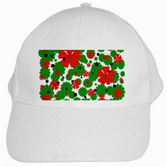 Red And Green Christmas Design  White Cap by Valentinaart