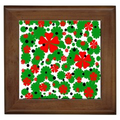 Red And Green Christmas Design  Framed Tiles by Valentinaart