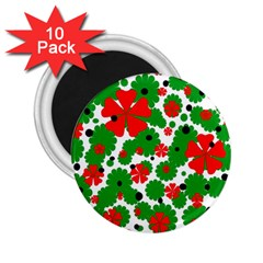 Red And Green Christmas Design  2 25  Magnets (10 Pack)  by Valentinaart