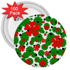 Red And Green Christmas Design  3  Buttons (100 Pack)  by Valentinaart