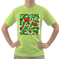 Red And Green Christmas Design  Green T Shirt by Valentinaart