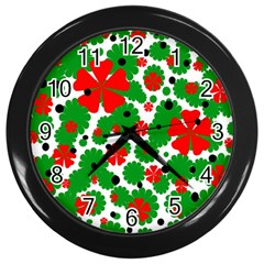Red And Green Christmas Design  Wall Clocks (black)