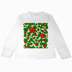 Red And Green Christmas Design  Kids Long Sleeve T Shirts by Valentinaart