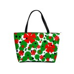 Red and green Christmas design  Shoulder Handbags Front