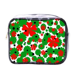 Red And Green Christmas Design  Mini Toiletries Bags by Valentinaart