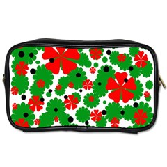 Red And Green Christmas Design  Toiletries Bags 2 Side by Valentinaart