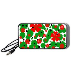 Red And Green Christmas Design  Portable Speaker (black)  by Valentinaart