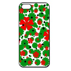 Red And Green Christmas Design  Apple Iphone 5 Seamless Case (black) by Valentinaart
