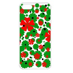 Red And Green Christmas Design  Apple Iphone 5 Seamless Case (white) by Valentinaart