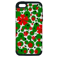 Red And Green Christmas Design  Apple Iphone 5 Hardshell Case (pc+silicone) by Valentinaart