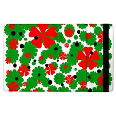 Red And Green Christmas Design  Apple Ipad 3/4 Flip Case by Valentinaart