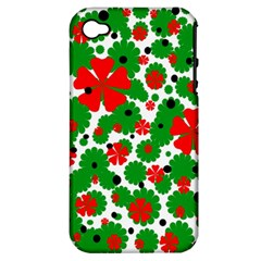 Red And Green Christmas Design  Apple Iphone 4/4s Hardshell Case (pc+silicone) by Valentinaart