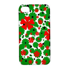 Red And Green Christmas Design  Apple Iphone 4/4s Hardshell Case With Stand by Valentinaart