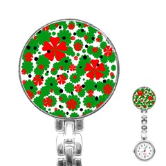 Red And Green Christmas Design  Stainless Steel Nurses Watch by Valentinaart