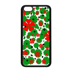 Red And Green Christmas Design  Apple Iphone 5c Seamless Case (black) by Valentinaart