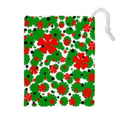 Red And Green Christmas Design  Drawstring Pouches (extra Large) by Valentinaart