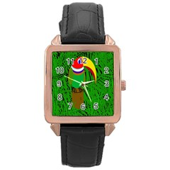Toucan Rose Gold Leather Watch  by Valentinaart