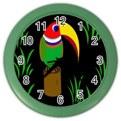 Toucan Color Wall Clocks by Valentinaart