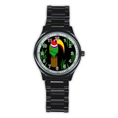 Toucan Stainless Steel Round Watch by Valentinaart