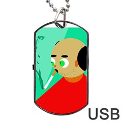 Smoker  Dog Tag Usb Flash (one Side) by Valentinaart