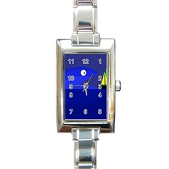 Blue Monster Fish Rectangle Italian Charm Watch by Valentinaart