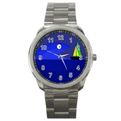 Blue Monster Fish Sport Metal Watch by Valentinaart