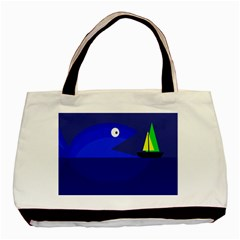 Blue Monster Fish Basic Tote Bag by Valentinaart