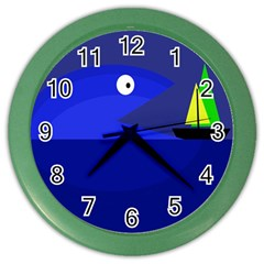 Blue Monster Fish Color Wall Clocks by Valentinaart