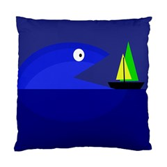 Blue Monster Fish Standard Cushion Case (one Side) by Valentinaart